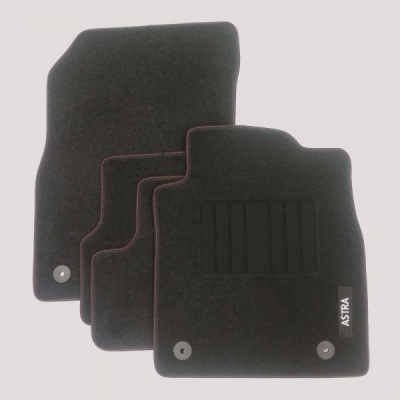 Genuine Vauxhall Astra J Mats with Heel Pad and Red Stitching